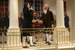 George Washington being sworn in at the age of 57...