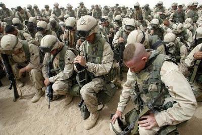 Marines praying...