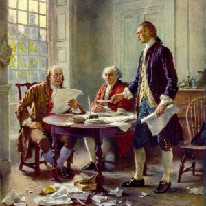 Adams, Franklin, and Jefferson commiserating...