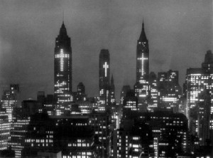 1956 New York City Skyline at Christmas and Easter...